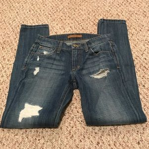Joes jeans mid rise distressed denim size 23